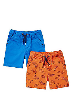 F&F 2 Pack of Lizard Print and Plain Drawstring Shorts - Orange & Blue