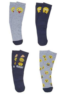 Emoji 4 Pair Pack of Ankle Socks Multi Child Shoe 9-12