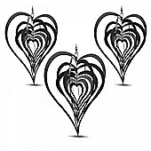 Set of Three Black Heart Shaped Steel Garden Windspinners
