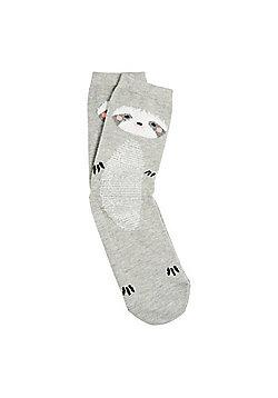 F&F Fluffy Sloth Ankle Socks - Grey