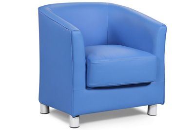 Vegas Blue Faux Leather Tub Bucket Chair