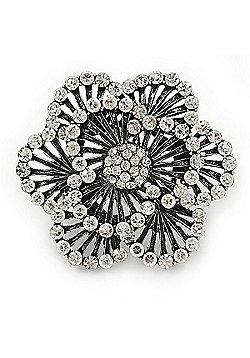 Large Layered Grey Crystal 'Flower' Ring In Burn Silver Finish - Adjustable - 6cm Diameter
