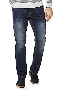 F&F Vintage Wash Stretch Straight Leg Jeans - Mid wash