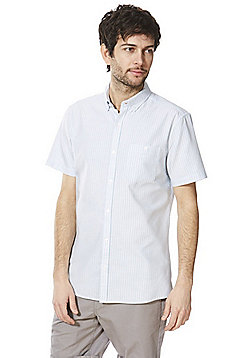 F&F Striped Short Sleeve Oxford Shirt - Blue