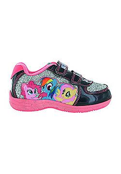 Girls MLP My Little Pony Silver Glitter Hook & Loop Trainers UK Sizes 6 - 12 - Silver