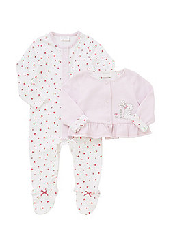 F&F 2 Piece Reversible Cover-Up and Sleepsuit Set - Pink & White