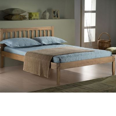 Happy Beds Porto Wood Low Foot End Bed - Waxed Rustic Pine - 4ft Small Double
