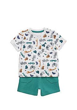F&F Zoo Print T-Shirt and Sweat Shorts Set - Multi