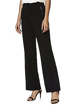 F&F PU Trim Bootcut Trousers - Black