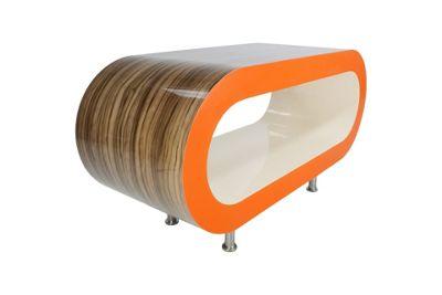 Hoop Coffee Table / Tv Stand Medium - Light Zebrano - Orange - Cream