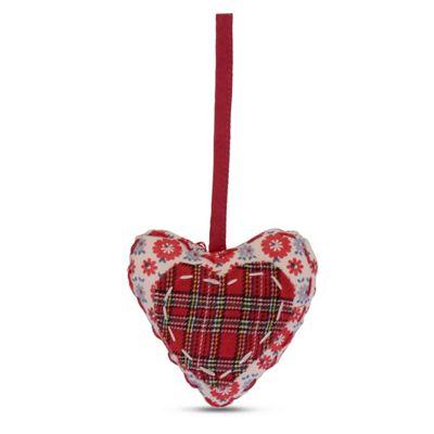 Hanging Tartan Fabric Heart Shaped Christmas Tree Decoration