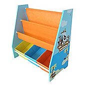 Kiddi Style Childrens Pirate Themed Wooden Sling Bookshelf and Storage - Blue