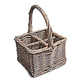 Grey Willow Wicker Cutlery and Glass Divider Basket