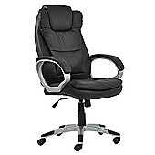 Scanon Black Faux Leather Padded Office Chair