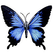 Black & Light Blue Coloured Metal Wall Mountable Butterfly Garden Ornament