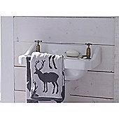 Catherine Lansfield Home Cosy Corner Swing Stag Jacquard 500gsm Bath Sheet - Grey