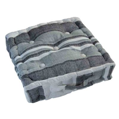 Homescapes Morocco Striped Cotton Floor Cushion Monochrome