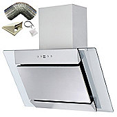 SIA AGL71SS 70cm S/Steel Angled Glass Chimney Cooker Hood Extractor+ 1m Ducting