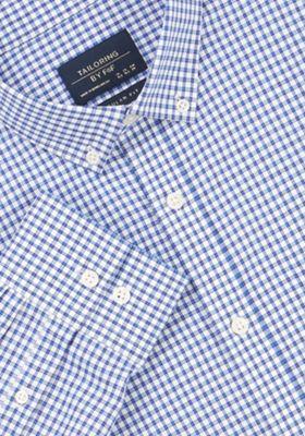 F&F Checked Regular Fit Long Sleeve Shirt Navy 15