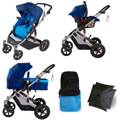 Your Baby Dakota 5 Piece Pramette Travel System - Blue - Inc Footmuff & Parasol