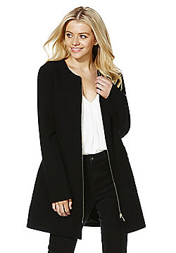 F&F Crepe Collarless Coat - Black