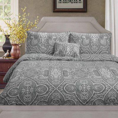 Homescapes Grey Paisley Pattern Bohemian Style Duvet Cover Set, Double