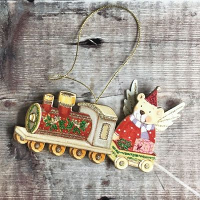 Teddy in Train Christmas Decoration