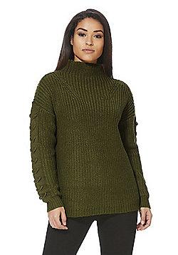 Vero Moda Chunky Knit Lace Sleeve Jumper - Khaki