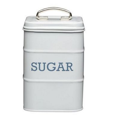 KitchenCraft Living Nostalgia Metal Sugar Canister Tin in French Grey LNSUGARGRY
