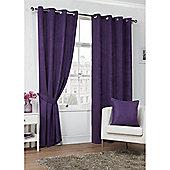 Hamilton McBride Faux Suede Eyelet Curtains - Plum