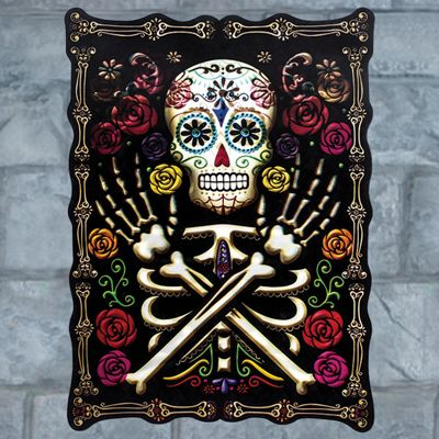 Skull & Rose Lenticular Sign - 45cm