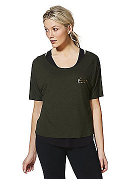 F&F Active Foil Graphic 2 in 1 T-Shirt - Dark green