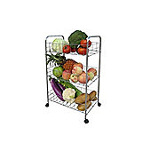 Apollo 3-Tier Vegetable Trolley with Wheels, Chrome-Plated Frame, Deep Baskets