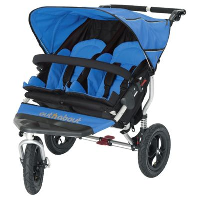Out n About Nipper 360 Double Pushchair, Lagoon Blue