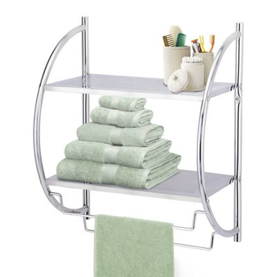 2 Tier Chrome Wall Mounted Bathroom Shelf Unit