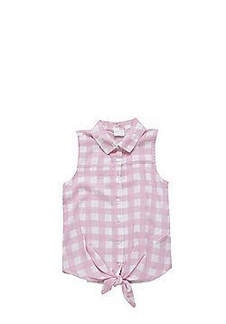 F&F Gingham Tie Front Shirt - Pink