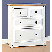 Corona 2+2 Drawer Chest in White/Distressed Waxed Pine