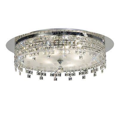 Esta Ceiling Round 4 Light Polished Chrome/Glass/Crystal