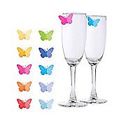 Pack of 10 - Butterfly Wine Glass Silicone Markers