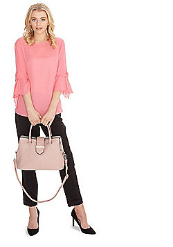 F&F Triple Compartment Top Handle Tote Bag Blush Pink One Size
