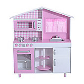 Homcom Luxury Wooden Kids Kitchen Playset Children's Cooking Role Play Toys Set Cooker Toddler