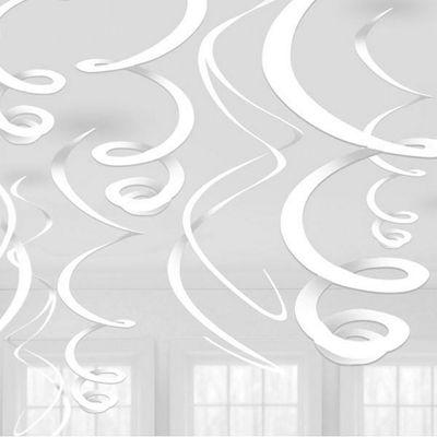 White Hanging Swirl Decoations - 55cm