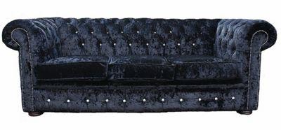 Chesterfield Crystal Diamond 3 Seater Black Velvet Sofa