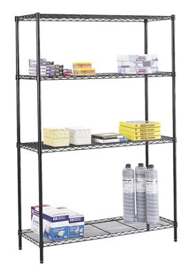 Safco Wire Commercial Shelving Starter Unit in Black