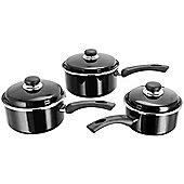Judge Enamel Non-Stick Saucepan Pan Set 3 Piece Black