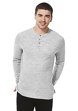 F&F Textured Grandad Collar Jumper - Grey marl