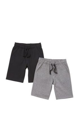 F&F 2 Pack of Sweat Shorts with As New Technology Black/Grey 5-6 years