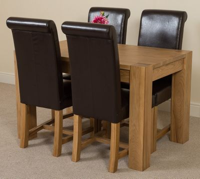 Kuba Chunky Solid Oak 125 cm Dining Table with 4 Brown Washington Chairs