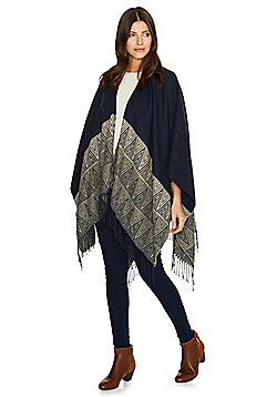 Pieces Chevron Pattern Fringed Wrap - Navy blue
