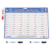 ZooBooKoo Times Tables in Order with Secret Decoder and 2 Dry Wipe Pens - Activity Place Mat - Multiplication for 5+ Years